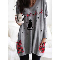 Animal Print Grid Pockets Round Neck Long Sleeves Christmas Sweatshirt