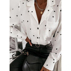 Print Heart Lapel Long Sleeves Button Up Casual Shirt Blouses