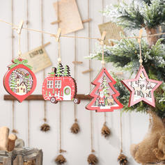 Christmas Hanging Christmas Tree Star Wooden Lights Christmas Pendant Tree Hanging Ornaments