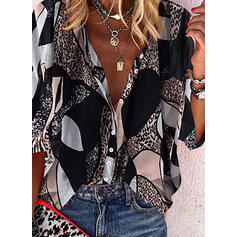 leopardo Scollatura a V Maniche a 3/4 Bottone Casuale Shirt and Blouses