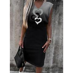 Print/Gradient/Heart Sleeveless Sheath Knee Length Casual Dresses