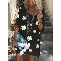 Sunflower Print 3/4 Sleeves Shift Above Knee Casual/Vacation Dresses