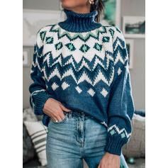 印刷 タートルネック カジュアル セーター