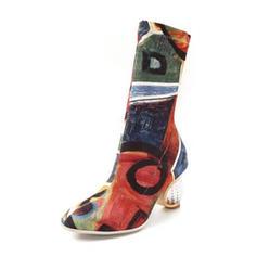 Femmes Tissu Talon bottier Escarpins Bottes Bottes mi-mollets avec Fleur en satin chaussures