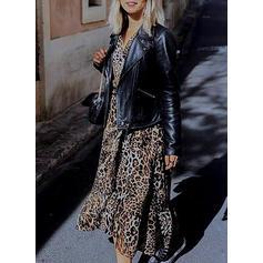 Leopard Lange Ärmel A-Linien Skater Freizeit Maxi Kleider