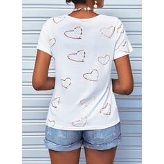 Nadruk Serce Dekolt w kształcie litery V Krótkie rękawy Nieformalny Bluzki