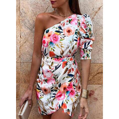 Print/Floral 1/2 Sleeves Bodycon Above Knee Party/Elegant Dresses