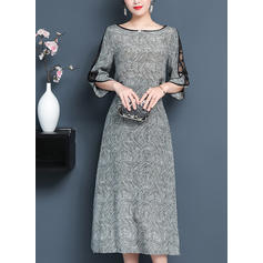 Lace Round Neck Midi Shift Dress