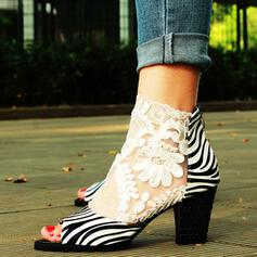 Mulheres Renda Pano Salto agulha Salto robusto Bombas Peep toe com Animal da Cópia Zíper sapatos