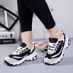 Mulheres Camurça Tecido Malha Casual Outdoor Atlético Caminhada com Aplicação de renda sapatos
