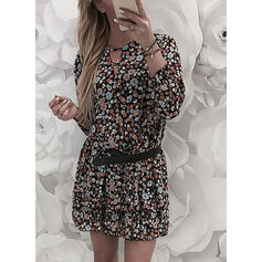 Print/Floral Long Sleeves A-line Above Knee Casual Dresses