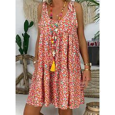 Estampado/Floral Sem mangas Shift Comprimento do joelho Casual Vestidos