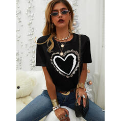 Print Sequins Heart Round Neck Short Sleeves Casual T-shirts