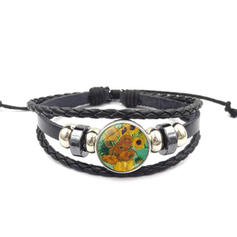 Unique Sexy Exotic Alloy Leather Rope Glass Bracelets