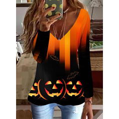 halloween Degradada Impresión Animal Cuello en V Manga Larga Camisetas