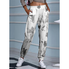 Print Shirred Tie Dye Cropped Casual Sporty Yoga Pants