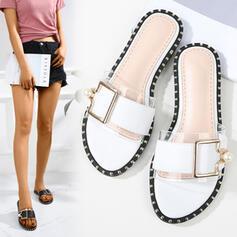 Femmes PU Talon plat Sandales À bout ouvert Chaussons avec Perle d'imitation chaussures