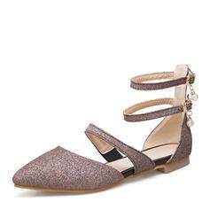 Frauen Funkelnde Glitzer Flascher Absatz Sandalen Flache Schuhe mit Perlstickerei Schuhe