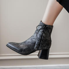 Women's Leatherette Chunky Heel Pumps Boots Ankle Boots With Lace-up shoes