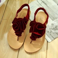 De mujer Ante Tacón plano Sandalias Encaje Solo correa con Flor Banda elástica zapatos