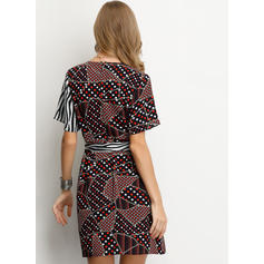 Print/PolkaDot/Patchwork Short Sleeves A-line Above Knee Casual/Elegant Dresses