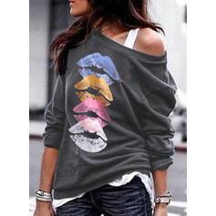 Print One Shoulder Lange ærmer Sweatshirts