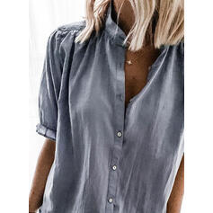 Solid Stand collar Short Sleeves Button Up Casual Blouses