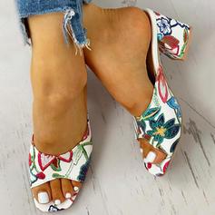 Vrouwen PU Chunky Heel Sandalen Peep Toe Slippers schoenen