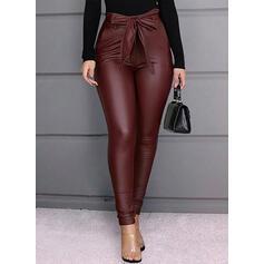 Patchwork Plus Size Bowknot Long Elegant Sexy Leather Pants