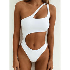 Solid Color Monokini One-Shoulder Sexy One-piece Swimsuits