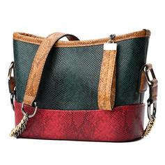 Splice Color PU Shoulder Bags/Hobo Bags