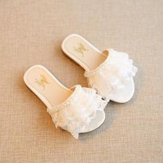 Дівчата Мереживо взуття на короткій шпильці Низька підошва Тапочки з Перла