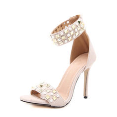 Women's Suede Stiletto Heel Sandals Pumps Peep Toe With Imitation Pearl Rivet Zipper shoes
