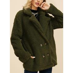 Polyester Dlouhé rukávy Jednobarevný Umělá kožešina kabát