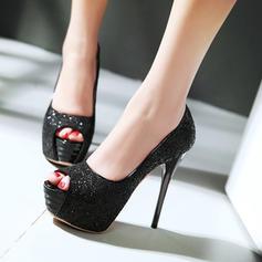 Donna Glitter scintillanti Tacco a spillo Stiletto Piattaforma Punta aperta con Glitter scintillanti scarpe