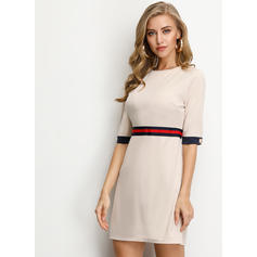 Striped 1/2 Sleeves A-line Knee Length Casual/Elegant Skater Dresses