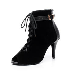 Women's Dance Boots Heels Boots Real Leather Suede With Buckle Lace-up Latin