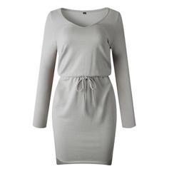Jednolita Długie rękawy Pokrowiec Nad kolana Mała czarna/Casual/Elegancki Sukienki