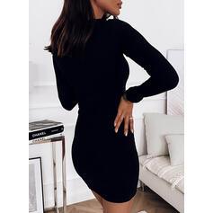Solido Maniche lunghe Aderente Sopra il ginocchio Piccolo nero/Elegante Abiti