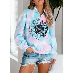 Floral Animal Print Tie Dye Lapel Long Sleeves Sweatshirt
