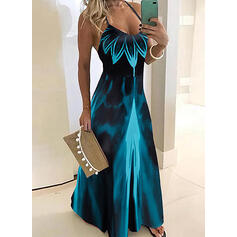 Tie Dye Sleeveless A-line Slip Casual/Vacation Maxi Dresses