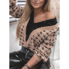 Print Sequins V-Neck Casual Sweaters