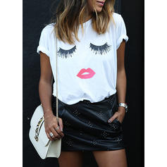 Print Round Neck Short Sleeves Casual Knit T-shirts