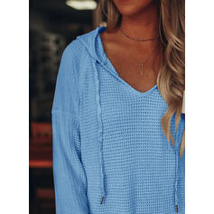 Solid Hoodie Long Sleeves Casual Knit Blouses