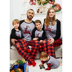 Ren Bloc de culori Kostkovaný Písmena De Familie Pijamale De Crăciun