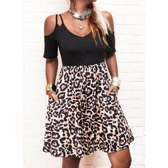 Print/Leopard Short Sleeves A-line Above Knee Casual Skater Dresses