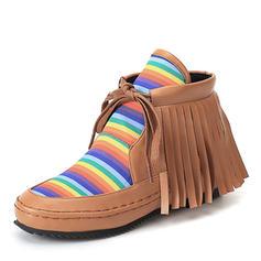 Femmes Similicuir Talon plat Bottes Bottines avec Tassel chaussures