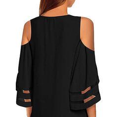 Sólido Mangas 3/4/Top sin hombros Acampanado Sobre la Rodilla Pequeños Negros/Casual/Elegante Vestidos