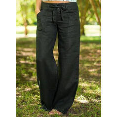 Pockets Bowknot Long Boho Casual Solid Pants