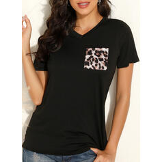 Leopard V-Neck Short Sleeves Casual T-shirts